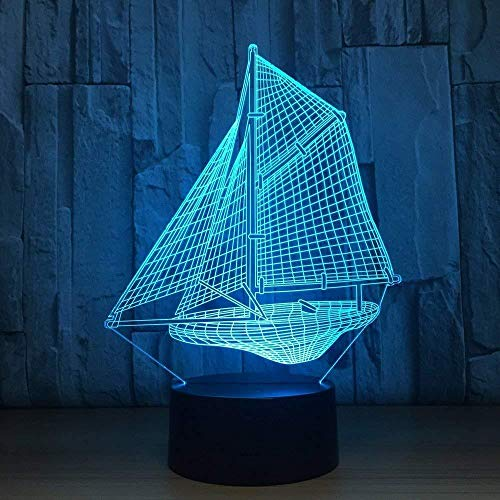 16 Colors Changing Night Lamp with Remote Control Sailing Boat 3D Optical Illusion lamp