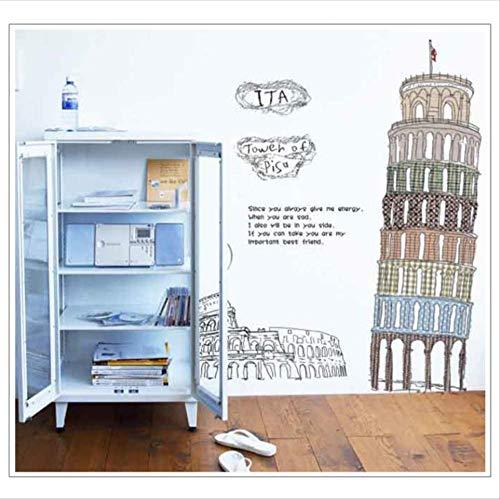 3D-muursticker, schuin van Pisa, Italië, beroemd gebouw voor wand/behang/poster/siluette voor decoratie thuis.