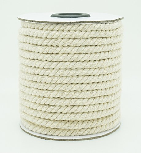 5mm Natural White Cotton Twisted Cord Craft Macrame Artisan String (16yards Spool)