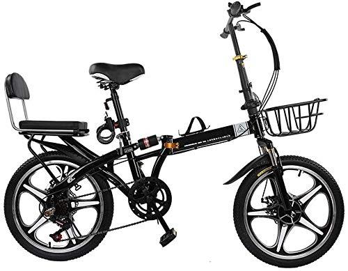 20 Pulgadas Bicicleta Bici Ciudad Plegables Adulto Hombre Mujer, Bicicleta de Montaña Btt MTB Ligero Folding Mountain City Bike Doble Suspension Bicicleta Urbana Portátil, H051ZJ