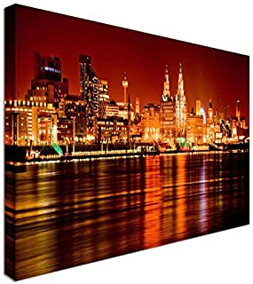 PotteLove Liverpool Skyline Night Mersey River Canvas Prints Wall Art, Canvas Wrap 12