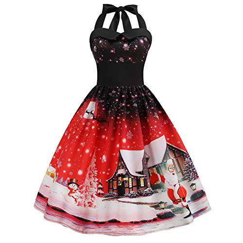 FeelinGirl Mujeres Vestido Cóctel de Fiesta Navidad Skater Estampado Falda con Hálter Cuello Cuello Redondo Nochebuena Rojo XXL/Talla 42