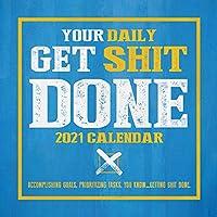 TF PUBLISHING 2021 Get Sht Done デイリーデスクトップ ボックスカレンダー イーゼル付き 習慣トラッキング コンパクトな1日ごとの切り取りページ 自宅やオフィス計画やチャートの整理に最適 5.5インチx5.5インチ