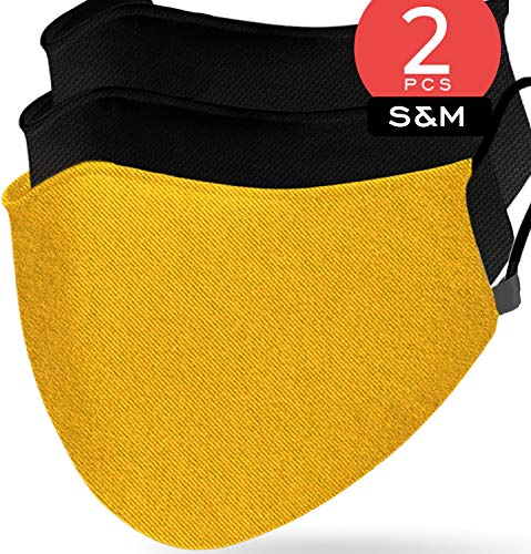 Triple Layer Muslin Cotton Mustard Yellow Face Cover ( Pack of 2 ) Nose & Mouth Covers Made from Muslin with Extra Filter Slot a Casual Comfortable Wear for Daily Use ( Size S&M )