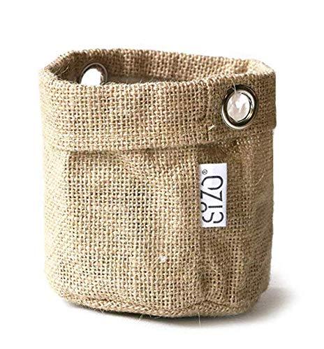 Sizo Jute Beutel mini Pflanzen Krug für Gewürzpflanzen, Aufbewahrung für Pflegeprodukte und Pinselhalter 25x25 cm
