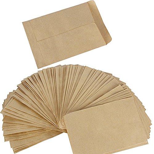 DEOMOR (9 * 12cm) 100 Stück Mini Papiertüten Papierbeutel Kraftpapier Tüten Beutel Geschenktüten Schmucktüten Flachbeutel Braun klein für Gastgeschenke Schmuck Bonbons Süßigkeiten Samen Mitgebsel usw