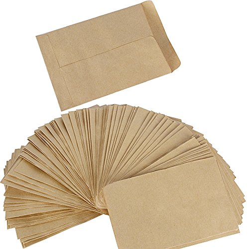 DEOMOR (13 x 9cm) 100pcs Pochette Sac Sachet en Kraft Papier Vintage Mini Enveloppe pour Semences ou Bonbons
