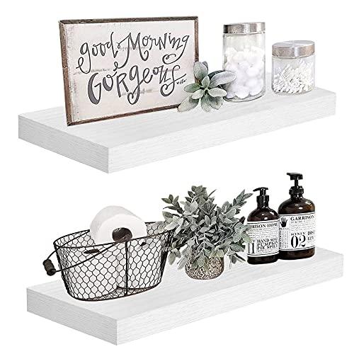 QEEIG White Floating Shelves for Wall 24 inches Long Bedroom Shelf Set of 2 Bathroom Kitchen Living Room Mounted Shelving Modern Shelfs 23.6' L x 9.3' D (008-60W)