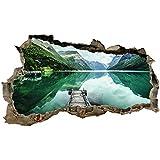 3D Wandtattoo Mauerloch Wandsticker Wandaufkleber Durchbruch Städte Landschaft selbstklebend H 60 x B 100 Schlafzimmer Wohnzimmer (WL57 Norwegen Fjord)