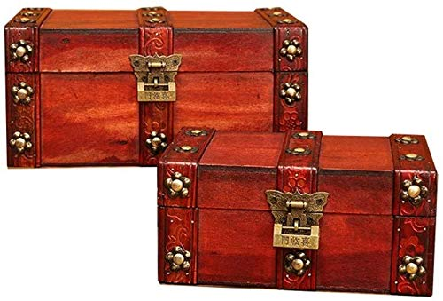 LHSUNTA Wood Storage Boxes Wooden Decorative Suitcases Decorative Nesting Boxes Jewelry Trinket Storage Decorative Wooden Box (Color : A, Size : 2 PCS)