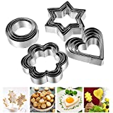 Cookie Cutters Biscuit Shapes Set, 12PCS Cookie Pastry Fruit Vegetables Stainless Steel Molds Cutters | Heart Star Circle Flower Shaped Mold Cookie Cutters For Halloween Christmas Valentine
