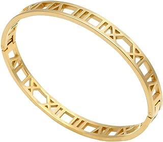 18k Gold Titanium Roman Numeral Bracelet Bangle for Women