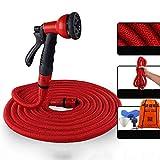 LZDX - Juego de 3 expansiones Magic Water Hose Set, flexible, extensible, tubo con pulverizador multifunción para coche y mascota, para lavado, césped, jardín, rojo, 10 m