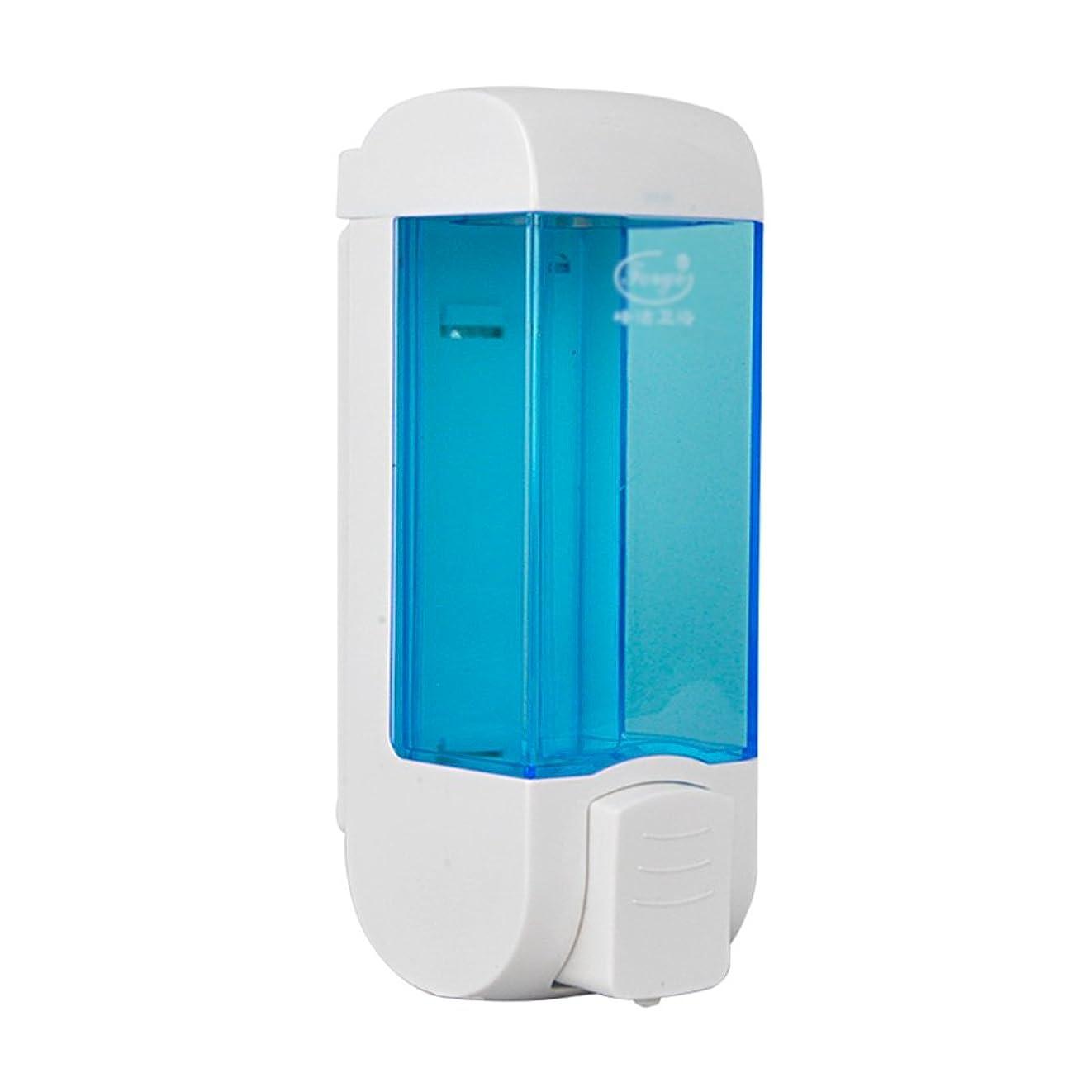 聖歌自然公園重荷ZEMIN ソープディスペンサー 壁掛け式 石鹸ディスペンサー 帰納的 マニュアル ポンプ 2頭 シャンプー 液体 石鹸 クリーン、 プラスチック、 青、 300ML (色 : 1)