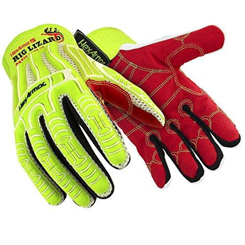 HexArmor Rig Lizard Oasis 2022 Breathable Summer Impact Work Gloves, Medium, 1 Pair