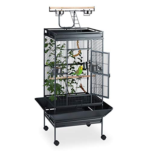 Relaxdays Vogelvoliere mit Freisitz, auf Rollen, Vogelkäfig Großsittich Papagei, 2 Sitzstangen, HBT 165x80x80cm, schwarz