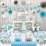 Ajworld Blue Elephant Baby Shower Decorations for Boy Party Supplies Kit with Guest Book It's a boy Banner Garland Paper Fans Lanterns Cake toppers Sash Gift Tags and Balloons