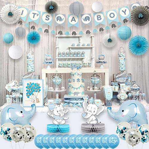 Ajworld Blue Elephant Baby Shower Decorations for Boy Party Supplies Kit with Guest Book Its a boy Banner Garland Paper Fans Lanterns Cake toppers Sash Gift Tags and Balloons