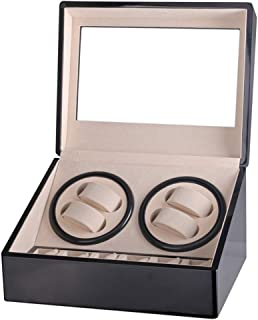Automatic Rotation Watch Winder 4+6 Display Box Leather Watch Automatic Watch Rewinder And Storage Box High-End Gift (Upgraded Version),Black