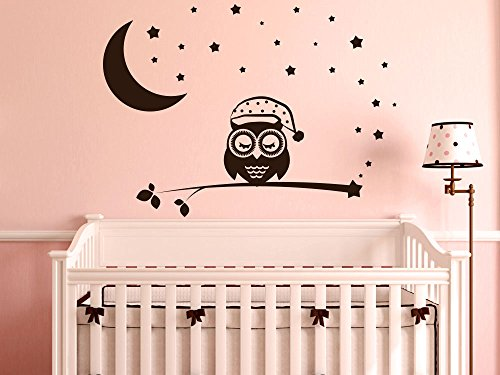 GRAZDesign Wandtattoo schlafende Eule - Aufkleber über Kinderbett - Wickelkommode - Babybett Sterne Mond - Wandaufkleber Kinderzimmer Eule auf AST Schlafen / 69x50cm / 031 rot
