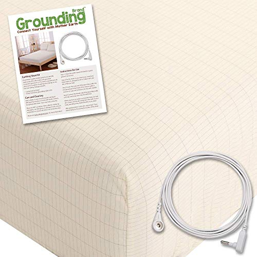 Grounding Brand King Size Grounded Sheet with Earth Connection Cable, 400TC Conductive Mat with Pure Silver Thread for Better Sleep and Healthy Earth Energy, Natural Tan (Fitted King Sheet, Beige)