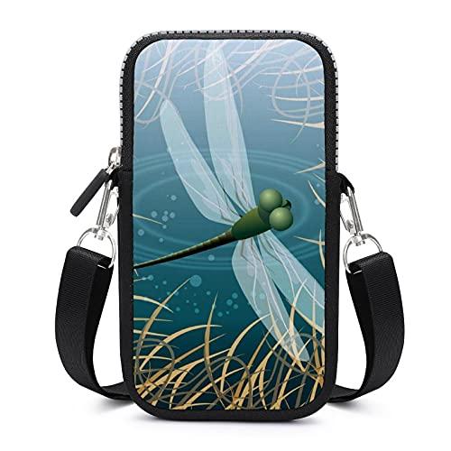 Bolso bandolera para teléfono móvil con correa extraíble para el hombro, diseño de libélulas y libélulas