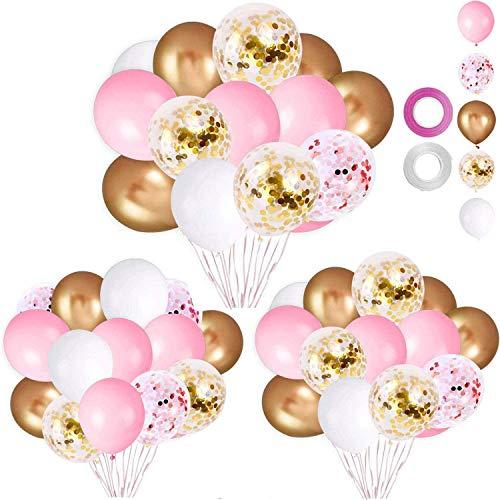 tarumedo 60 Stück Rosa Luftballons Hochzeit Helium Ballon Pink Balloons, Latex Konfetti Helium Luftballons Rosa Weiß Gold Balloons für Geburtstag Taufe Hochzeit Rosa Deko Geburtstagsdeko Mädchen