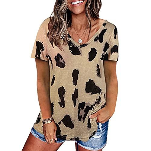 Camiseta Holgada de Manga Corta con Estampado de Leopardo para Mujer Camiseta con Cuello en v Superior para Mujer