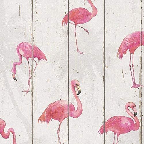 Rasch Barbara Becker Holzplatte Muster Tapete Faux-Effekt Flamingo Vogel Motiv - Weiß 479720