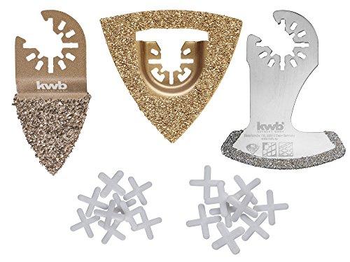 kwb Fliesen Reparatur-Set – Multitool Diamant-Sägeblatt, 21-teilig, inkl. Fliesenkreuze