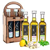 Pellas Nature, Fresh Organic Infused Garlic, Lemon & Basil Extra Virgin Olive Oil, Hand Crafted Wooden Gift Set, Single Origin, 3x1.69oz (3x50ml)