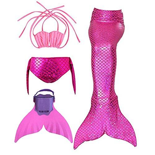 3STEAM Mädchen Meerjungfrauenschwanz Zum Schwimmen mit Meerjungfrau Flosse, Red 2, 12 (130-140cm)
