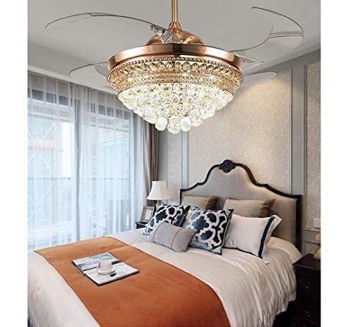 Faus Koco - Techo de luz invisible de 52 pulgadas, ventilador europeo, hogar simple, luces de salón, moderno, dormitorio, restaurante con mute LED Fan 55 x 55 x 39 cm