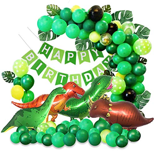 Dinosaur Theme Party Balloon Garland Kit – 155 Pack Round Latex Balloon with Dinosaur Foil Balloons, Palm Leaves and Happy Birthday Banner for Kids Boys Birthday Party Baby Shower Decorations