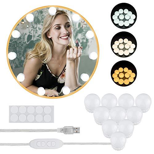 LED Spiegelleuchte, Komake Led Licht schminktisch,Hollywood Stil Schminklicht Make Up Licht, 10 Dimmbar USB LED Makeup Beleuchtung mit 3 Farbmodi für Kosmetikspiegel, Schminktisch,Badzimmer Spiegel