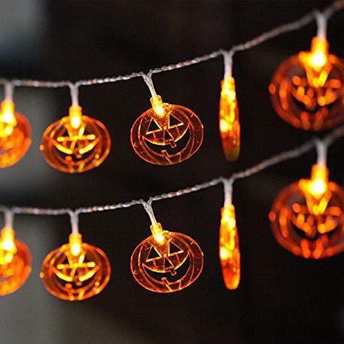 Guirnalda LED de Halloween con forma de calabaza, luces decorativas con forma de calabaza, accesorios de celebración de vacaciones de hadas, blanco cálido, 3 m 20 LED