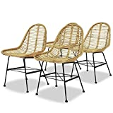 vidaXL 4x Dining Chairs Natural Rattan Beige Kitchen Dining Room Furniture