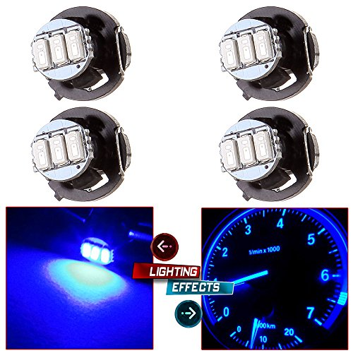 cciyu 4 Pack Blue 3-3014SMD T4/T4.2 Neo Wedge LED Climate Control Light Bulbs Fit 1997-2007 Jeep TJ Cherokee Wrangler Liberty