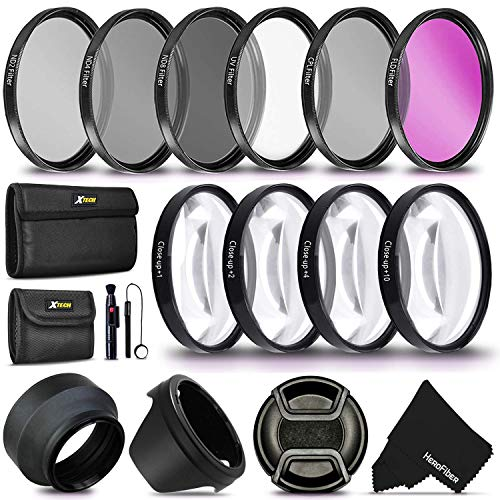 55MM Professional Lens Filter Accessory Kit (UV FLD CPL) ND Filters Set (ND2 ND4 ND8) 4 Close-up Macro Filters (+1 +2 +4 +10) for Nikon D3400 D3500 D5600 D7500 Camera with Nikon AF-P DX 18-55mm Lens