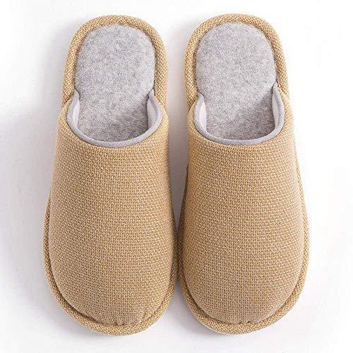 XIUYU Thermische Pantoffeln, Herbst und Winter dünne Innenrutschfeste Schuhe, Paar Plüsch Baumwolle Pantoffeln-Coffee_UK6.5-UK7, Damen Herren Winter-Pantoffel-Speicher