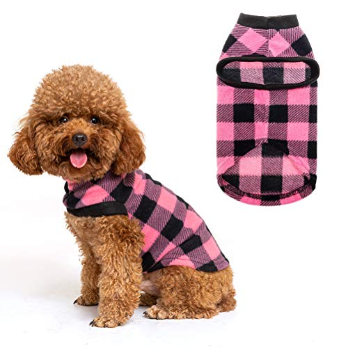 EXPAWLORER Classic Plaid Dog Hoodie Cat Sweatshirt Warm Fleece Soft Vest for Cats, Puppies, Small Animals Pink Medium