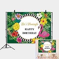 GooEoo 5x3FTフラミンゴをテーマにした花緑の葉写真のための幸せな誕生日パーティーの装飾バナーの背景赤ちゃんの誕生日の背景フォトスタジオプロップのためのカスタム写真