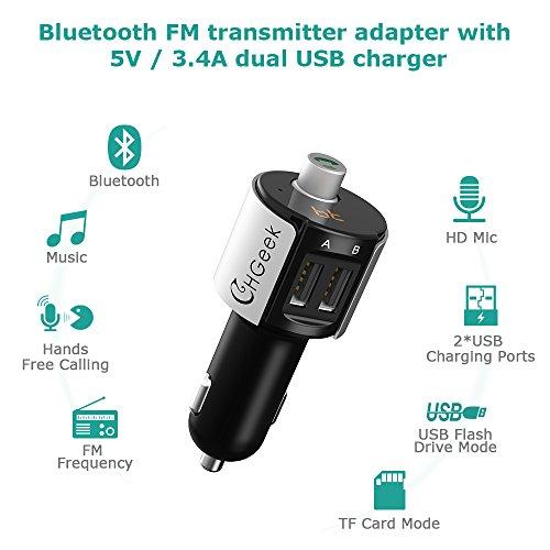 Bluetooth FM Transmitter Car Wireless Bluetooth Radio Adapter Hand-Free Calling Dual USB Car Charger CHGeek CH05
