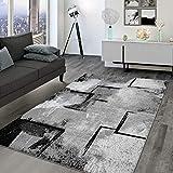 TT Home Alfombra de salón de pelo corto, vintage, diseño geométrico abstracto moderno, color: gris, tamaño: 160 x 230 cm