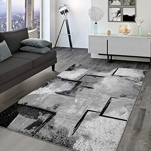 TT Home Tappeto per soggiorno, a pelo corto, vintage, in design geometrico astratto, moderno, colore: grigio, dimensioni: 200 x 290 cm