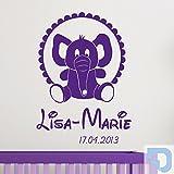 DESIGNSCAPE® Wandtattoo Babyelefant mit Name - Babyzimmer Wandtattoo 91 x 120 cm (Breite x Höhe) pastell-blau DW809017-L-F99