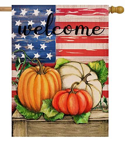 Dyrenson Welcome Fall 28 x 40 House Flag Patriotic Double Sided, Rustic Autumn Harvest Pumpkin Primitive Quote Burlap Garden Yard Decoration, Home Seasonal Vintage Outdoor Décor Large Decorative Flag