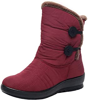 Inlefen Women's Winter Boots Twin Button Martin Short Snow Boots Warm Flats Shoes
