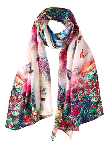 YangtzeStore Long 100% Silk Scarf 67' x 20' Digitally Printed Floral Print (Red and Green Butterfly)