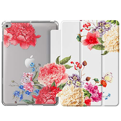 MoKo TPU Hülle Kompatibel mit New iPad Mini 5 2019 (5th Generation 7.9 inch), PU Leder Tasche Schutzhülle mit Transluzent Rückseite Auto Schlaf/Wach Funktion Ersatz - Blumen Blüte